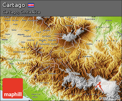 Physical Map of Cartago