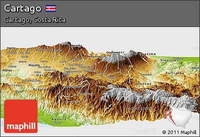 Physical Panoramic Map of Cartago