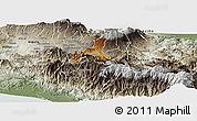 Physical Panoramic Map of Cartago, semi-desaturated