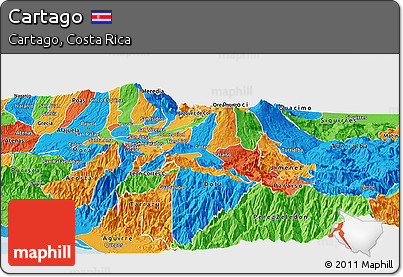 Political Panoramic Map of Cartago