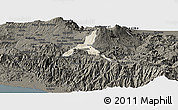 Shaded Relief Panoramic Map of Cartago, darken