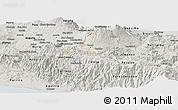 Shaded Relief Panoramic Map of Cartago, semi-desaturated