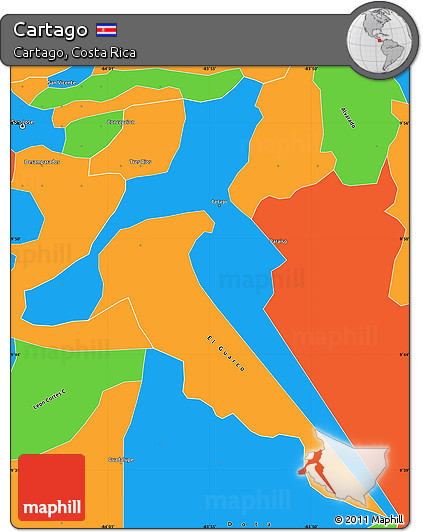 Political Simple Map of Cartago