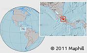 Gray Location Map of Cartago, hill shading