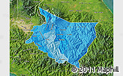 Political Shades Map of Cartago, satellite outside