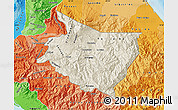 Shaded Relief Map of Cartago, political shades outside