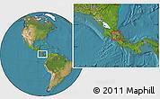 Satellite Location Map of Oreamuno