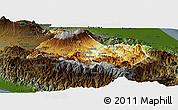 Physical Panoramic Map of Cartago, darken