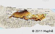 Physical Panoramic Map of Cartago, shaded relief outside