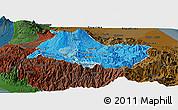 Political Shades Panoramic Map of Cartago, darken