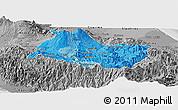 Political Shades Panoramic Map of Cartago, desaturated