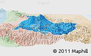 Political Shades Panoramic Map of Cartago, lighten