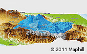 Political Shades Panoramic Map of Cartago, physical outside
