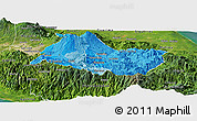 Political Shades Panoramic Map of Cartago, satellite outside
