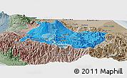 Political Shades Panoramic Map of Cartago, semi-desaturated