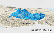 Political Shades Panoramic Map of Cartago, shaded relief outside