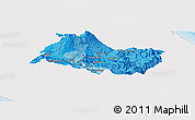 Political Shades Panoramic Map of Cartago, single color outside