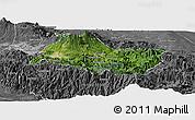 Satellite Panoramic Map of Cartago, desaturated