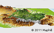 Satellite Panoramic Map of Cartago, physical outside