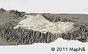 Shaded Relief Panoramic Map of Cartago, darken