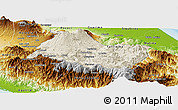 Shaded Relief Panoramic Map of Cartago, physical outside