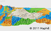 Shaded Relief Panoramic Map of Cartago, political outside