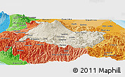 Shaded Relief Panoramic Map of Cartago, political shades outside