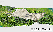 Shaded Relief Panoramic Map of Cartago, satellite outside