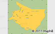 Savanna Style Simple Map of Cartago, single color outside