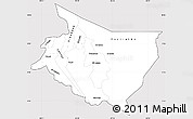 Silver Style Simple Map of Cartago, cropped outside
