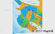 Political 3D Map of Guanacaste