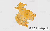 Political Shades 3D Map of Guanacaste, cropped outside