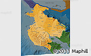 Political Shades 3D Map of Guanacaste, darken