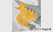 Political Shades 3D Map of Guanacaste, desaturated