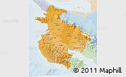 Political Shades 3D Map of Guanacaste, lighten