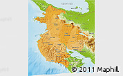 Political Shades 3D Map of Guanacaste, physical outside
