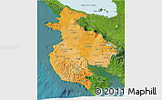 Political Shades 3D Map of Guanacaste, satellite outside