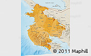 Political Shades 3D Map of Guanacaste, shaded relief outside