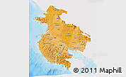 Political Shades 3D Map of Guanacaste, single color outside