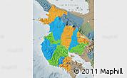 Political Map of Guanacaste, semi-desaturated