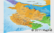 Political Shades Panoramic Map of Guanacaste