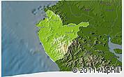 Physical 3D Map of Santa Cruz, darken