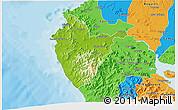 Physical 3D Map of Santa Cruz, political outside