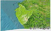 Physical 3D Map of Santa Cruz, satellite outside