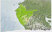 Physical 3D Map of Santa Cruz, semi-desaturated