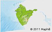 Physical 3D Map of Santa Cruz, single color outside
