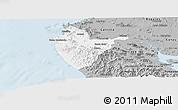 Gray Panoramic Map of Santa Cruz