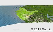Physical Panoramic Map of Santa Cruz, darken