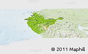 Physical Panoramic Map of Santa Cruz, lighten