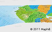 Physical Panoramic Map of Santa Cruz, political outside